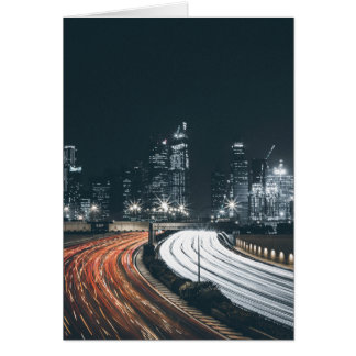 Busy city night bright colors sky line card