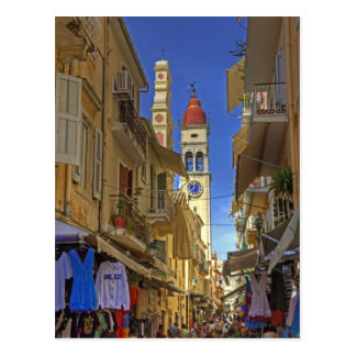 Busy Corfu Lane Postcard