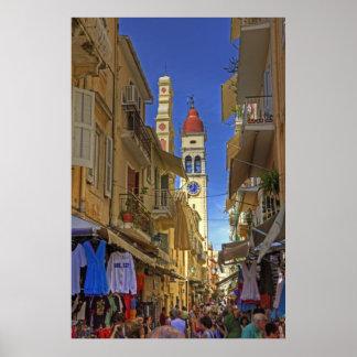 Busy Corfu Lane Poster