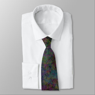 Busy Dark Multi Coloured Mosaic Tile Pattern Neck Tie
