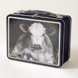 """Busy Day Crop Metal Lunch Box<br><div class=""""desc"""">A cute shot of a young cow lounging in the barn. Artist: Aledanda</div>"""