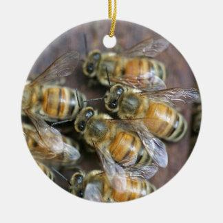Busy honey bees christmas tree ornament