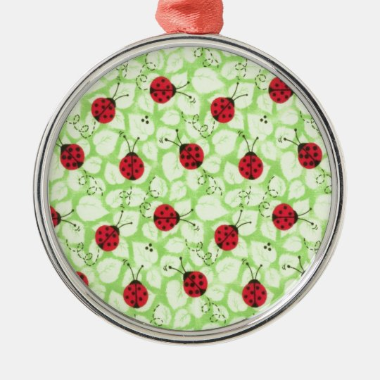Busy Ladybugs Metal Ornament