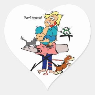 Busy Mom Heart Sticker
