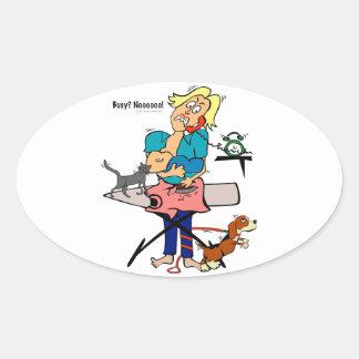 Busy Mom Oval Sticker
