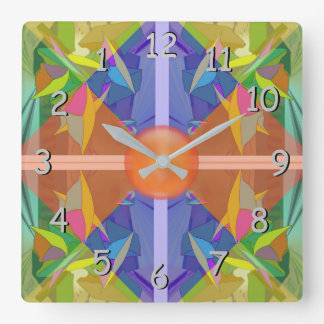 Busy Place Abstract in Pastels Backward in Time Square Wall Clock