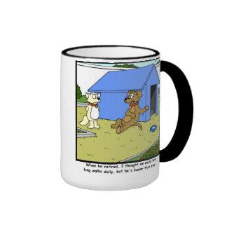 Busy retirement: Dog Cartoon Ringer Mug