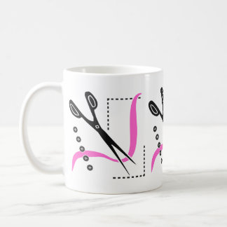 Busy Scissors, Thread and Buttons Sewing Theme Coffee Mug