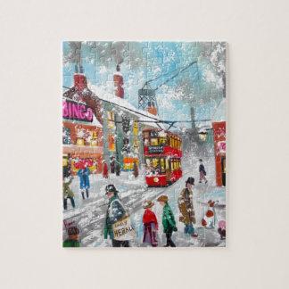 Busy snow winter street scene jigsaw puzzles