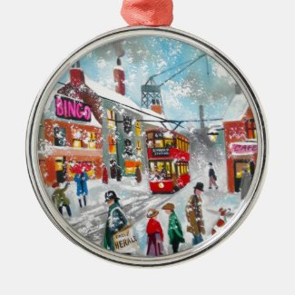 Busy snow winter street scene metal ornament