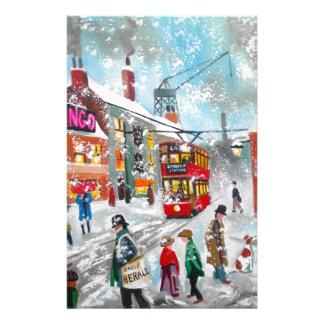 Busy snow winter street scene stationery