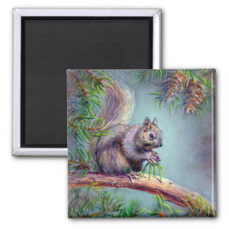 BUSY SQUIRREL by SHARON SHARPE 2 Inch Square Magnet