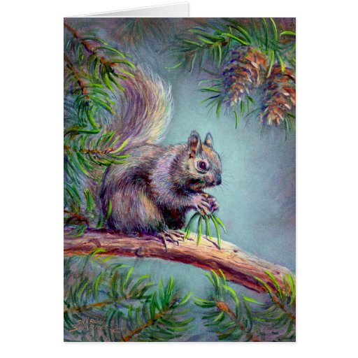 BUSY SQUIRREL by SHARON SHARPE Greeting Card