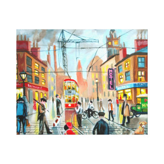 busy street scene nostalgic original oil painting canvas print