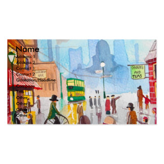 Busy street scene penny farthing tram Gordon Bruce Business Card