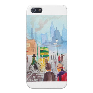Busy street scene penny farthing tram Gordon Bruce Cover For iPhone SE/5/5s