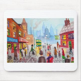 Busy street scene penny farthing tram Gordon Bruce Mouse Pad