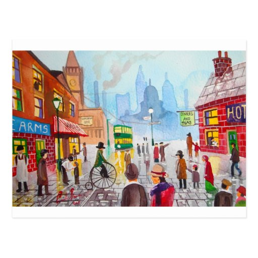 Busy street scene penny farthing tram Gordon Bruce Postcard