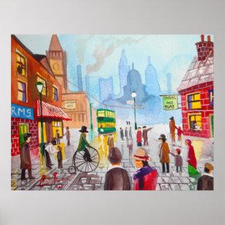 Busy street scene penny farthing tram Gordon Bruce Poster