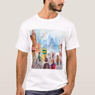 Busy street scene penny farthing tram Gordon Bruce T-Shirt