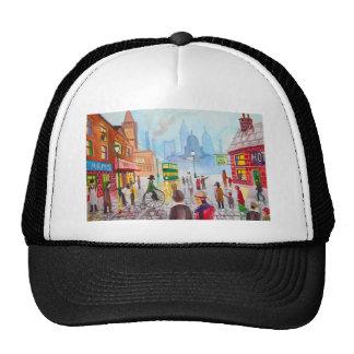 Busy street scene penny farthing tram Gordon Bruce Trucker Hat
