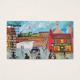 Busy street scene train Gordon Bruce art Business Card