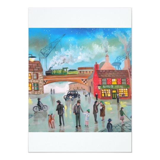 Busy street scene train Gordon Bruce art Card