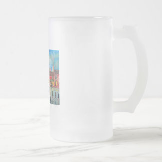 Busy street scene train Gordon Bruce art Frosted Glass Beer Mug