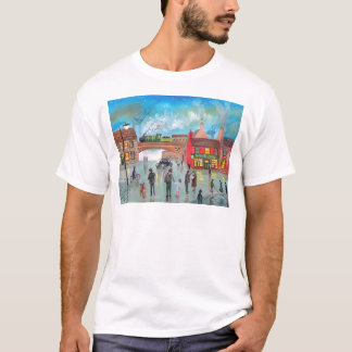 Busy street scene train Gordon Bruce art T-Shirt