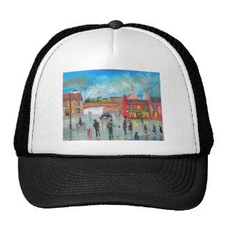 Busy street scene train Gordon Bruce art Trucker Hat