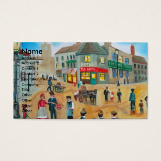 Busy street scene victorian rag and bone man business card