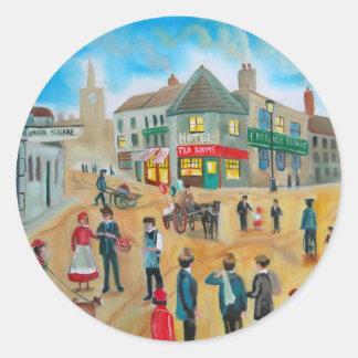 Busy street scene victorian rag and bone man classic round sticker
