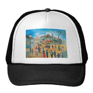 Busy street scene victorian rag and bone man trucker hat