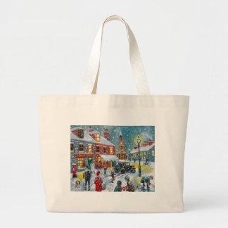 Busy street scene winter snow  Gordon Bruce art Canvas Bags