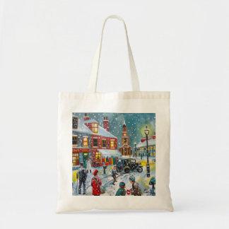 Busy street scene winter snow  Gordon Bruce art Bag