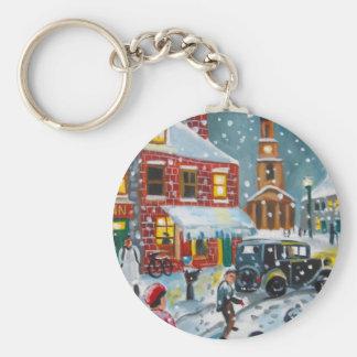 Busy street scene winter snow  Gordon Bruce art Basic Round Button Keychain
