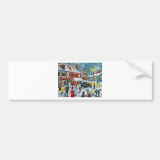 Busy street scene winter snow  Gordon Bruce art Bumper Sticker