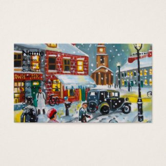 Busy street scene winter snow  Gordon Bruce art Business Card