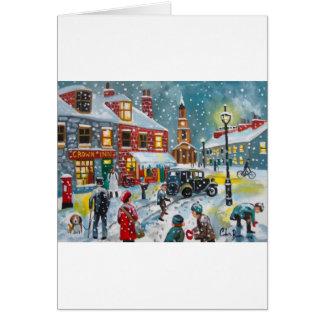Busy street scene winter snow  Gordon Bruce art Card
