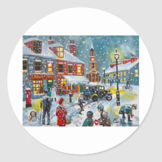 Busy street scene winter snow  Gordon Bruce art Classic Round Sticker