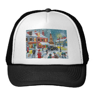 Busy street scene winter snow  Gordon Bruce art Trucker Hat