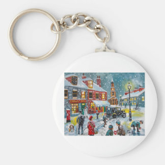 Busy street scene winter snow  Gordon Bruce art Keychain
