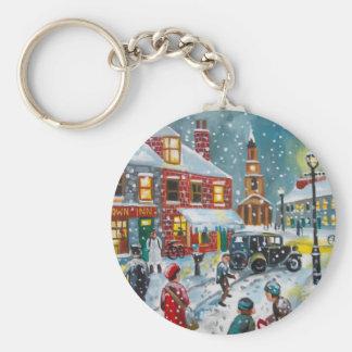Busy street scene winter snow  Gordon Bruce art Keychain