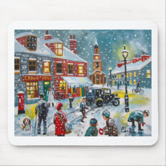 Busy street scene winter snow  Gordon Bruce art Mouse Pad