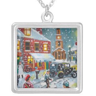 Busy street scene winter snow  Gordon Bruce art Necklaces