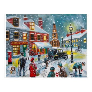 Busy street scene winter snow  Gordon Bruce art Postcard