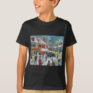 Busy street scene winter snow  Gordon Bruce art T-Shirt