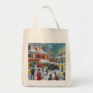 Busy street scene winter snow  Gordon Bruce art Tote Bag