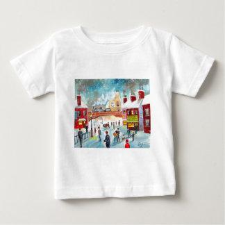 Busy street scene winter train oil painting art baby T-Shirt