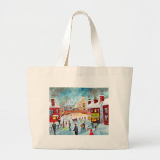 Busy street scene winter train oil painting art tote bags